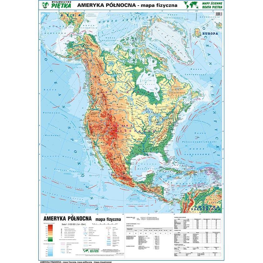 DWUSTRONNA MAPA ŚCIENNA AMERYKI PÓŁNOCNEJ - Kliknij obrazek, aby zamknąć